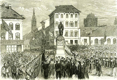 Inauguration Drawing - Antwerp Belgium Inauguration Of The Statue Of Teniers 1867 by Belgian School