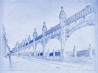 Photograph - Antwerp Railway Bridge Blueprint by Kaleidoscopik Photography