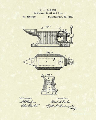 Drawing - Anvil/vise 1877 Patent Art by Prior Art Design