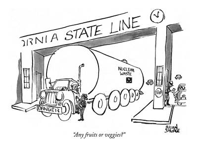 Waste Drawing - Any Fruits Or Veggies? by Brian Savage