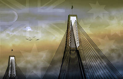Print featuring the photograph Anzac Bridge by Holly Kempe