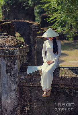 Photograph - Ao Dai White by Tran Minh Quan