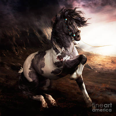 Wild Horse Digital Art - Apache Blue by Shanina Conway