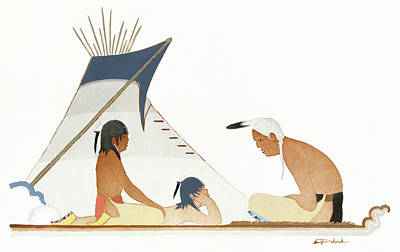 Apache Drawing - Apache Indians by Granger