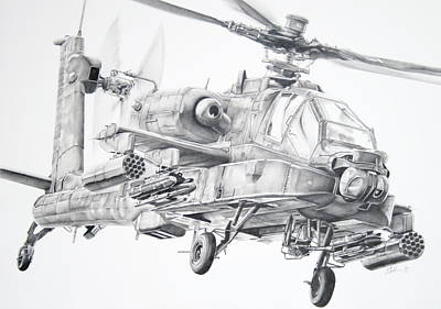 Helicopter Drawing - Apache by James Baldwin Aviation Art