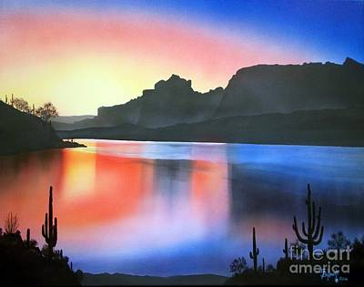 Superstition Mountains Painting - Apache Lake Sunset by Jerry Bokowski