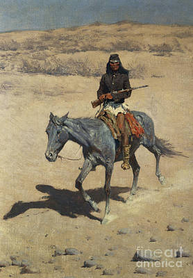 Ground Painting - Apache Scout  by Frederic Remington