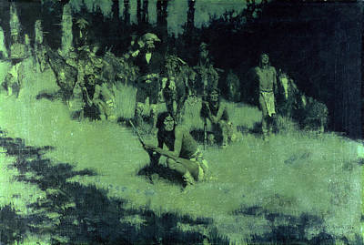 Anticipation Painting - Apache Scouts Listening, 1908 by Frederic Remington