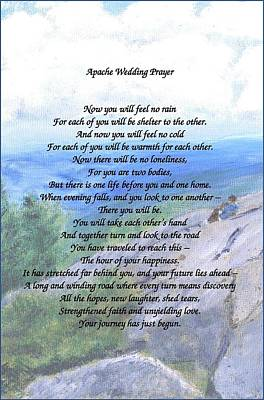 Art Print featuring the painting Apache Wedding Prayer by Linda Feinberg