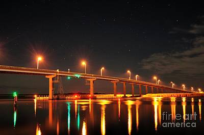 Night Time Apalachicola River Bridge Print by Mark  Stratton