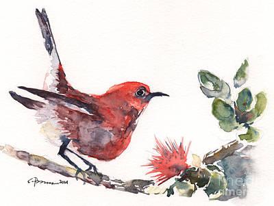 Painting - Apapane - Native Hawaiian Bird by Claudia Hafner