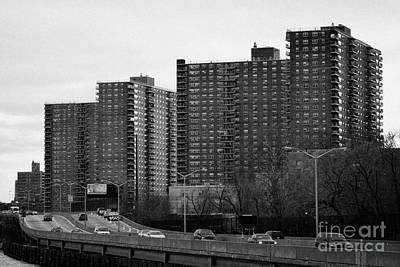 apartment blocks in Harlem and FDR Drive from the east river new york city Art Print by Joe Fox
