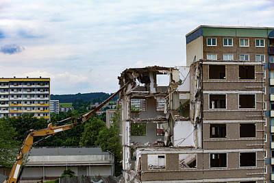 Apartments Being Demolished Art Print by Wladimir Bulgar