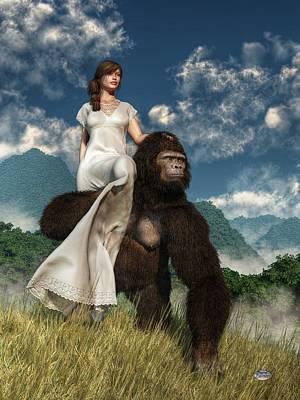Ape And Girl Art Print by Daniel Eskridge