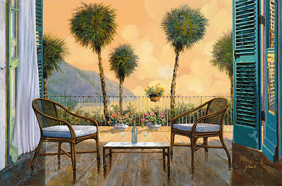 White Wine Painting - Aperitivo Al Tramonto by Guido Borelli