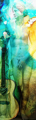 Music Mixed Media - Aphrodite's First Love - Guitar Art By Sharon Cummings by Sharon Cummings