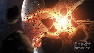 Meteorite Art Digital Art - Apocalyptic Space Scene With An by Tobias Roetsch