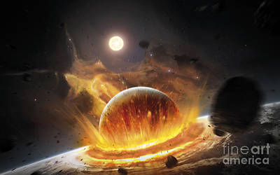 Destruction Digital Art - Apocalyptic Space Scene With Two by Tobias Roetsch