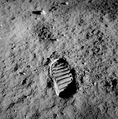 Illustration Drawing - Apollo 11 Buzz Aldrins Moon Footprint  by Celestial Images