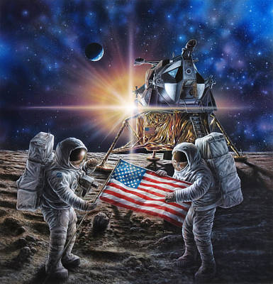 Astronauts Painting - Apollo 11 by Don Dixon