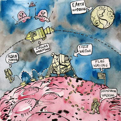 Painting - Apollo 11 Mission Comics Style by Fabrizio Cassetta