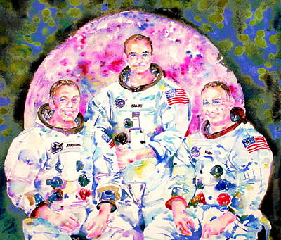Painting - Apollo 11 Mission - Watercolor Portrait by Fabrizio Cassetta