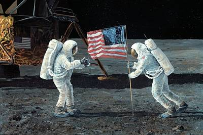 July 21 Photograph - Apollo 11 Moon Landing, 1969, Artwork by Science Photo Library
