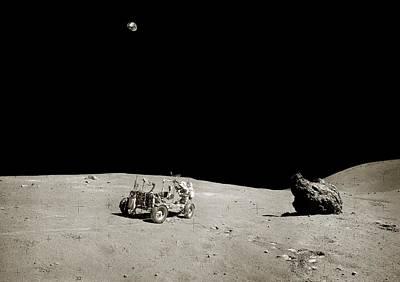 Apollo 16 Lunar Rover Art Print by Nasa/detlev Van Ravenswaay