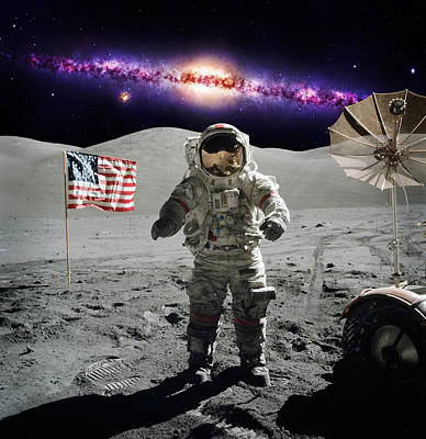 Photograph - Apollo Astronaut On The Lunar Surface by Celestial Images