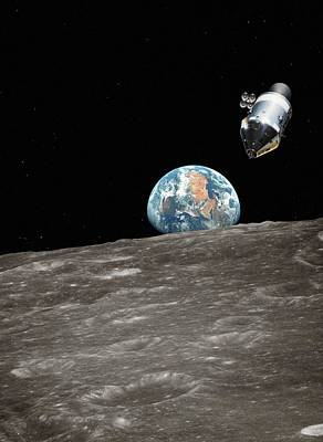 Apollo Spacecraft In Orbit Art Print by Detlev Van Ravenswaay