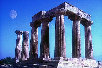 Thomas Kinkade Royalty Free Images - Apollo temple with moon Royalty-Free Image by Andonis Katanos