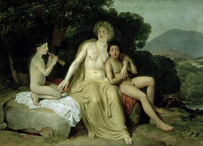 Apollo With Hyacinthus And Cyparissus Singing And Playing, 1831-34 Oil On Canvas Art Print by Aleksandr Andreevich Ivanov