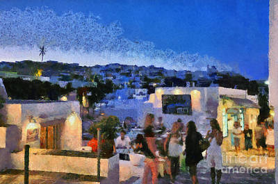 Pub Painting - Apollonia Town During Dusk Time by George Atsametakis