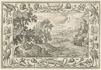 Apostle John On Patmos, Adriaen Collaert Print by Adriaen Collaert And Eduwart Van Hoeswinckel