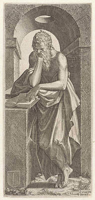 Scroll Saw Drawing - Apostle Simon The Canaanite, Lambertus Suavius by Lambertus Suavius