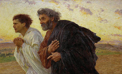 Apostles Peter And John Hurry To The Tomb On The Morning Of The Resurrection Art Print by Celestial Images