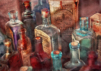Medicine Bottles Photograph - Apothecary - A Series Of Bottles by Mike Savad