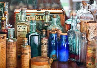 Medicine Bottles Photograph - Apothecary - Remedies For The Fits by Mike Savad