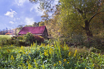 Barn In The Woods Photograph - Appalachian Red Roof Barn by Debra and Dave Vanderlaan