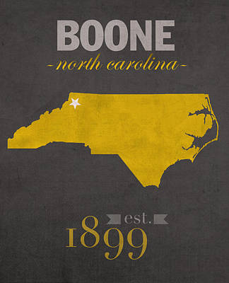 Appalachian Wall Art - Mixed Media - Appalachian State University Mountaineers Boone Nc College Town State Map Poster Series No 010 by Design Turnpike