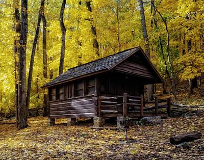 Fallen Leaf Photograph - Appalachian Trail Shelter Cabin by Mountain Dreams