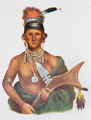 Medallion Photograph - Appanoose, A Sauk Chief, 1837, Illustration From The Indian Tribes Of North America, Vol.2 by George Cooke