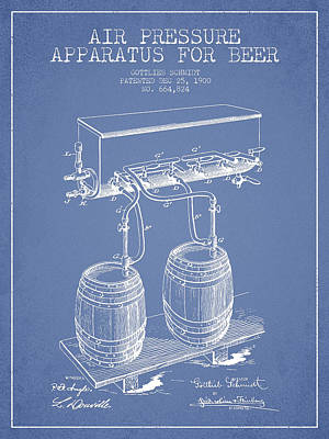 Keg Digital Art - Apparatus For Beer Patent From 1900 - Light Blue by Aged Pixel