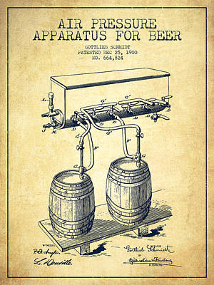 Keg Digital Art - Apparatus For Beer Patent From 1900 - Vintage by Aged Pixel