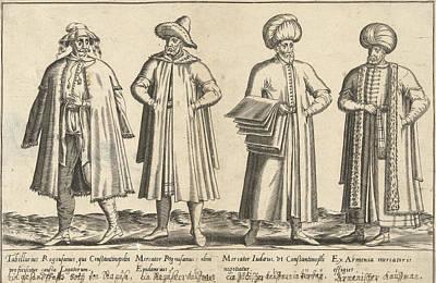 Apparel Merchants In Constantinople Around 1580 Istanbul Art Print by Abraham De Bruyn And Joos De Bosscher