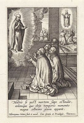 Appearance Of Ignatius Loyola To Three Jesuits Art Print by Hieronymus Wierix