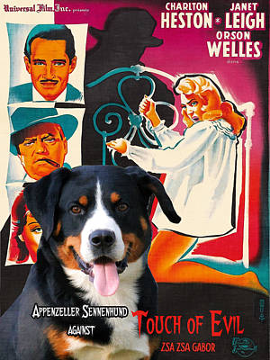 Portrait Of Evil Painting - Appenzeller Sennenhund - Appenzell Cattle Dog  Art Canvas Print - Touch Of Evil Movie Poster by Sandra Sij