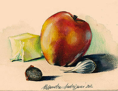 Italian Kitchen Painting - Apple by Alessandra Andrisani