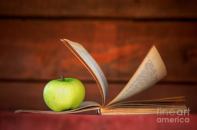 Textbook Photograph - Apple And Book by Michal Bednarek