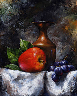 Brush Painting - Apple And Grapes by Emerico Imre Toth